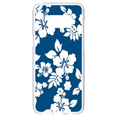 Hibiscus Flowers Seamless Blue White Hawaiian Samsung Galaxy S8 White Seamless Case
