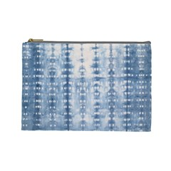 Indigo Grey Tie Dye Kaleidoscope Opaque Color Cosmetic Bag (large)