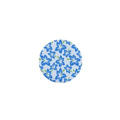 Hibiscus Flowers Seamless Blue 1  Mini Magnets