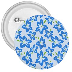 Hibiscus Flowers Seamless Blue 3  Buttons