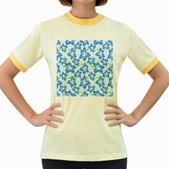 Hibiscus Flowers Seamless Blue Women s Fitted Ringer T-Shirts