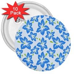 Hibiscus Flowers Seamless Blue 3  Buttons (10 pack)