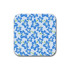 Hibiscus Flowers Seamless Blue Rubber Square Coaster (4 pack)