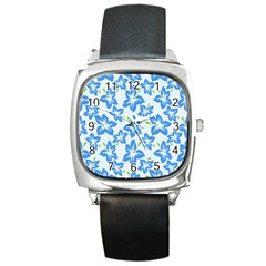 Hibiscus Flowers Seamless Blue Square Metal Watch