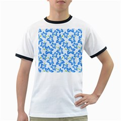 Hibiscus Flowers Seamless Blue Ringer T-Shirts