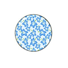 Hibiscus Flowers Seamless Blue Hat Clip Ball Marker (4 pack)