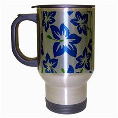 Hibiscus Flowers Seamless Blue Travel Mug (Silver Gray)
