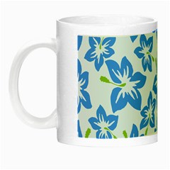 Hibiscus Flowers Seamless Blue Night Luminous Mugs