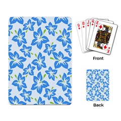 Hibiscus Flowers Seamless Blue Playing Card