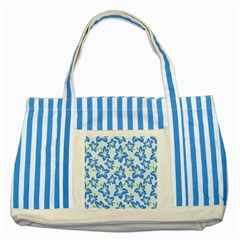 Hibiscus Flowers Seamless Blue Striped Blue Tote Bag