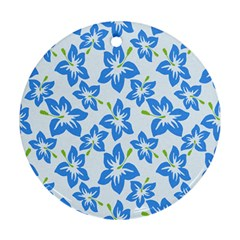 Hibiscus Flowers Seamless Blue Round Ornament (Two Sides)