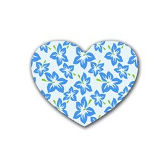 Hibiscus Flowers Seamless Blue Rubber Coaster (heart)