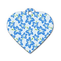 Hibiscus Flowers Seamless Blue Dog Tag Heart (Two Sides)