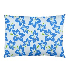 Hibiscus Flowers Seamless Blue Pillow Case