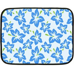 Hibiscus Flowers Seamless Blue Fleece Blanket (Mini)