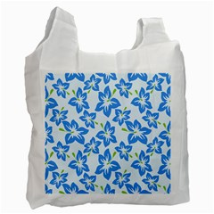 Hibiscus Flowers Seamless Blue Recycle Bag (One Side)
