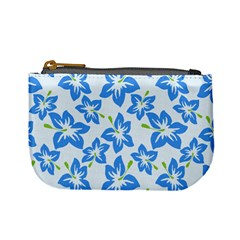 Hibiscus Flowers Seamless Blue Mini Coin Purses