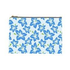 Hibiscus Flowers Seamless Blue Cosmetic Bag (Large)