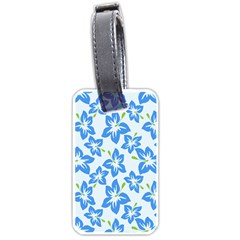 Hibiscus Flowers Seamless Blue Luggage Tags (Two Sides)