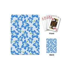 Hibiscus Flowers Seamless Blue Playing Cards (Mini)