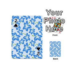 Hibiscus Flowers Seamless Blue Playing Cards 54 (mini)