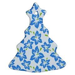 Hibiscus Flowers Seamless Blue Christmas Tree Ornament (Two Sides)