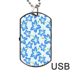 Hibiscus Flowers Seamless Blue Dog Tag USB Flash (One Side)