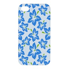 Hibiscus Flowers Seamless Blue Apple Iphone 4/4s Hardshell Case