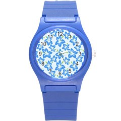 Hibiscus Flowers Seamless Blue Round Plastic Sport Watch (S)
