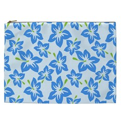 Hibiscus Flowers Seamless Blue Cosmetic Bag (XXL)
