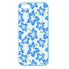 Hibiscus Flowers Seamless Blue Apple Seamless iPhone 5 Case (Color)