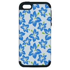 Hibiscus Flowers Seamless Blue Apple iPhone 5 Hardshell Case (PC+Silicone)