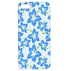 Hibiscus Flowers Seamless Blue Apple iPhone 5 Hardshell Case with Stand