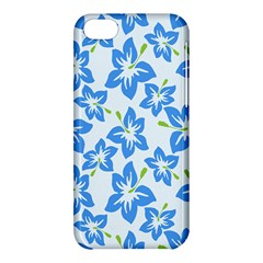 Hibiscus Flowers Seamless Blue Apple iPhone 5C Hardshell Case