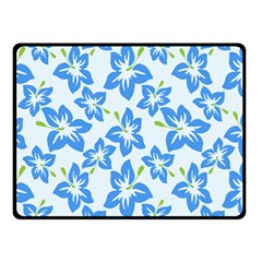 Hibiscus Flowers Seamless Blue Double Sided Fleece Blanket (Small)