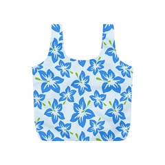 Hibiscus Flowers Seamless Blue Full Print Recycle Bags (S)