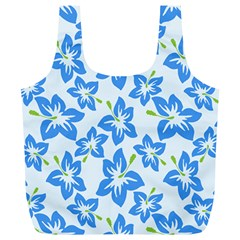 Hibiscus Flowers Seamless Blue Full Print Recycle Bags (L)
