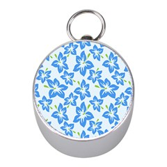 Hibiscus Flowers Seamless Blue Mini Silver Compasses