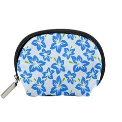 Hibiscus Flowers Seamless Blue Accessory Pouches (Small)