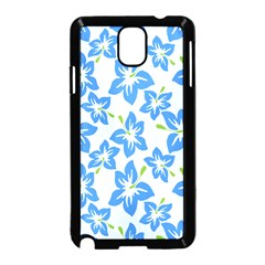 Hibiscus Flowers Seamless Blue Samsung Galaxy Note 3 Neo Hardshell Case (Black)