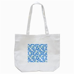 Hibiscus Flowers Seamless Blue Tote Bag (White)