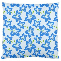 Hibiscus Flowers Seamless Blue Large Flano Cushion Case (One Side)