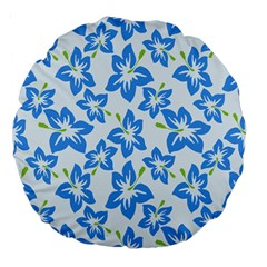 Hibiscus Flowers Seamless Blue Large 18  Premium Flano Round Cushions