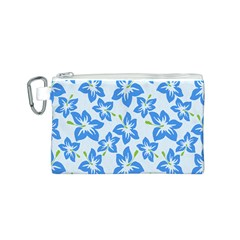 Hibiscus Flowers Seamless Blue Canvas Cosmetic Bag (S)