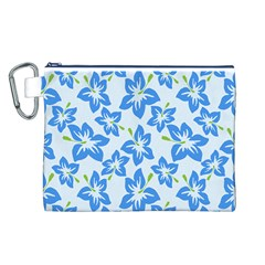 Hibiscus Flowers Seamless Blue Canvas Cosmetic Bag (L)