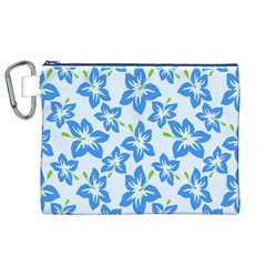 Hibiscus Flowers Seamless Blue Canvas Cosmetic Bag (XL)