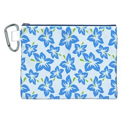 Hibiscus Flowers Seamless Blue Canvas Cosmetic Bag (XXL)