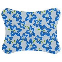 Hibiscus Flowers Seamless Blue Jigsaw Puzzle Photo Stand (Bow)