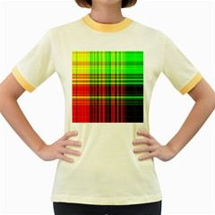 Line Light Neon Red Green Women s Fitted Ringer T-Shirts