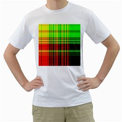 Line Light Neon Red Green Men s T-Shirt (White) (Two Sided)